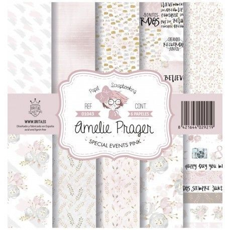Papel Scrap SPECIAL EVENTS PINK kit 6 papeles